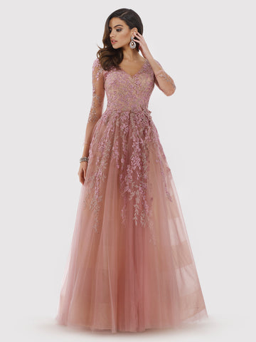 Lara 29853 - Off Shoulder Glittering Tulle Ball Gown