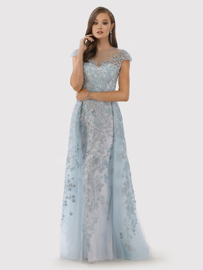 Lara 29798 - Floral Appliques high neck ball gown