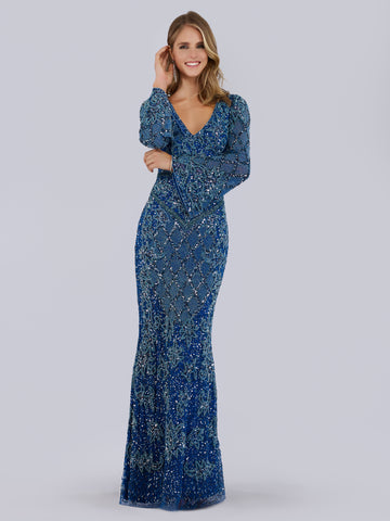 Lara 29761 - High neck sheer long sleeve embellished gown