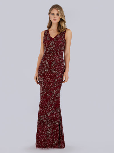 Lara 29818 - Strap sleeveless beaded long dress