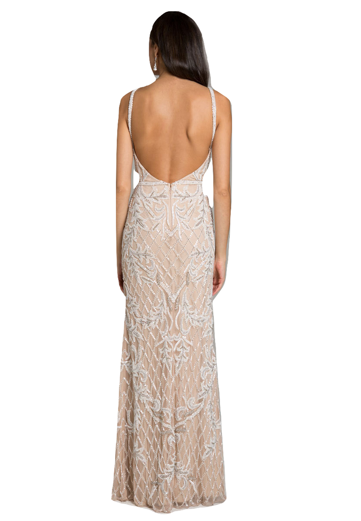 Lara 29833 - V Neck Sleeveless Beaded Dress