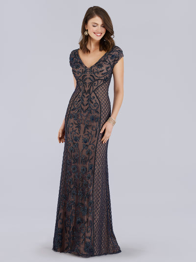 Lara 29836 - v neck long beaded gown