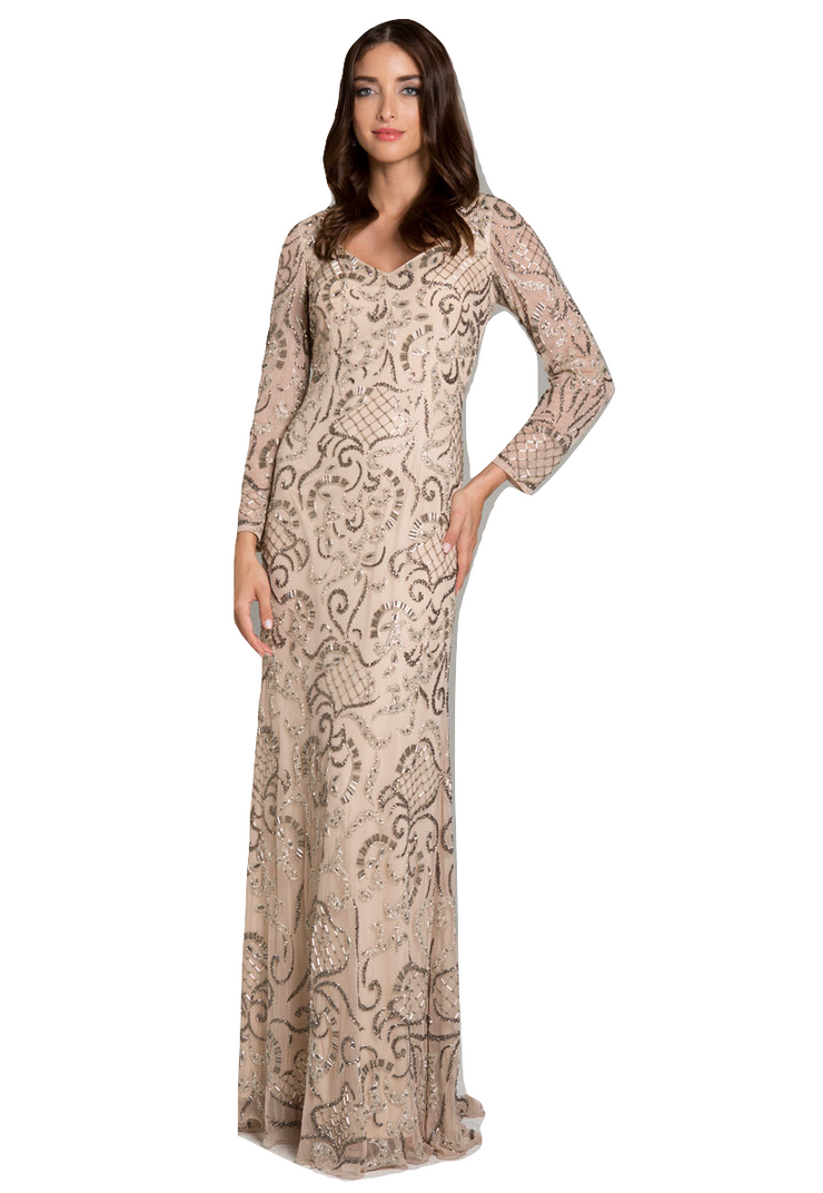 Lara 29839 - Fitted Beaded Gown with Long Sleeves