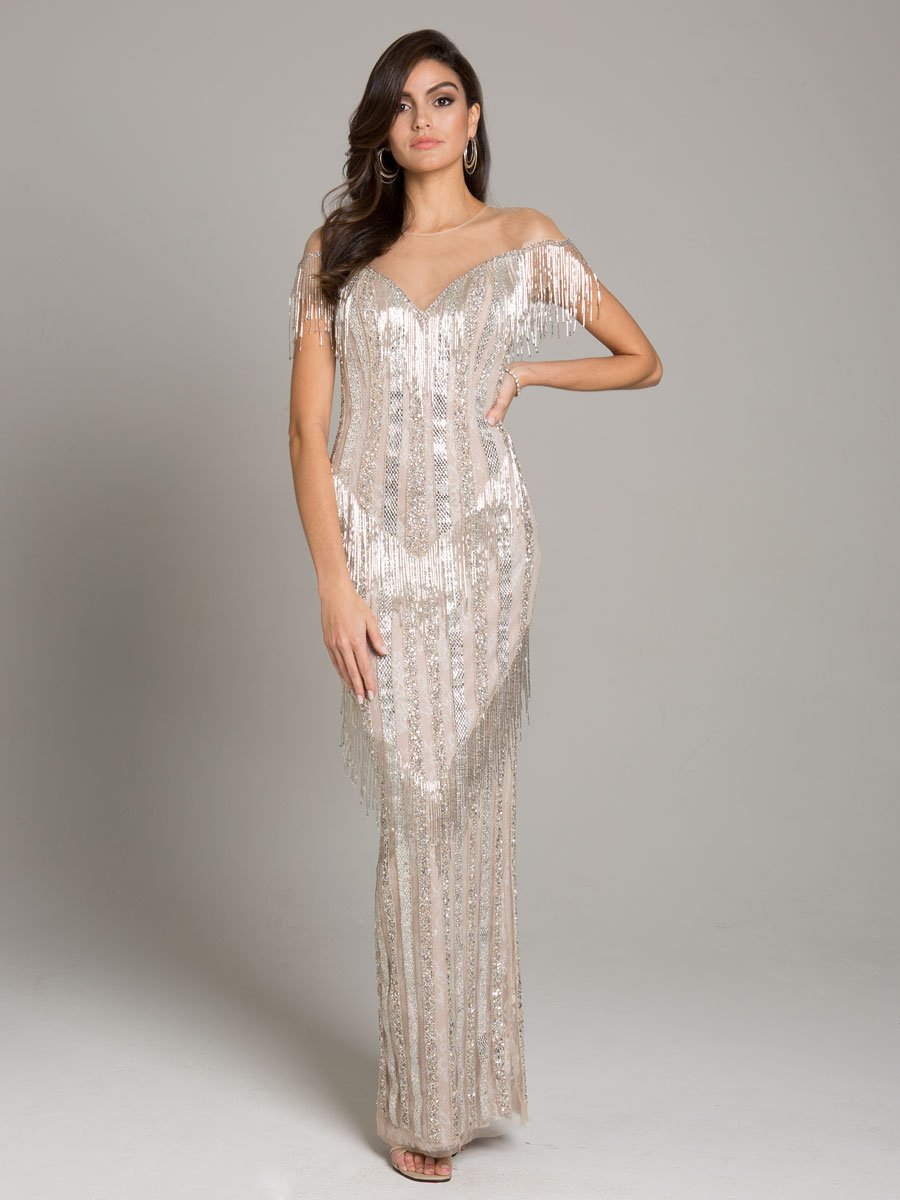 Lara 29847 - Sleek Column Gown with Sparkle Beads and Fringes