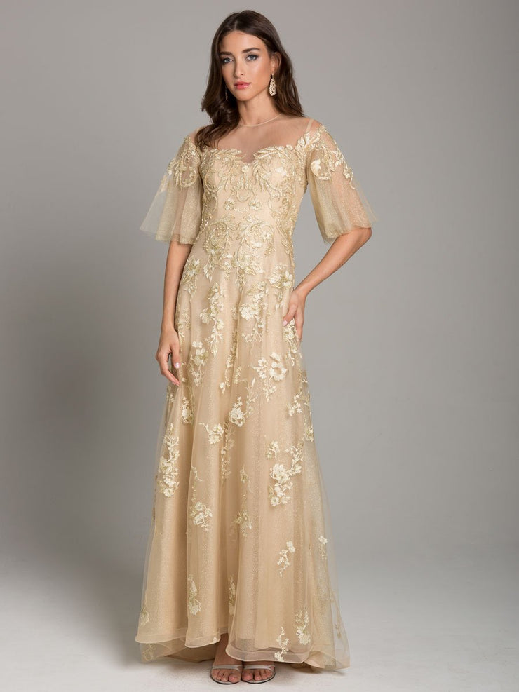 Lara 29854 - Flared Sleeve Flowing A Line Gown