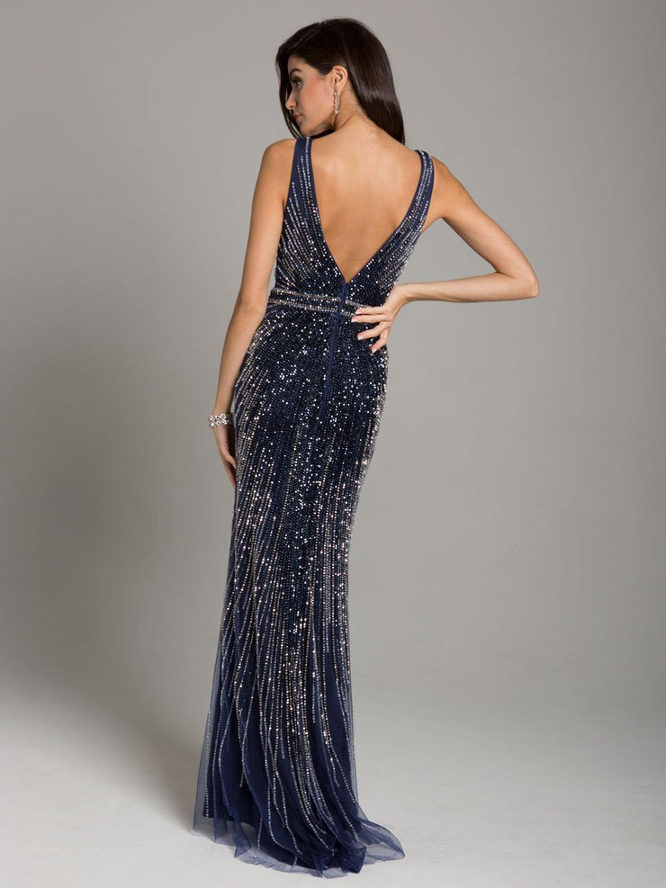 Lara 29860 - Fitted, Sleek Sparkling Beaded Gown
