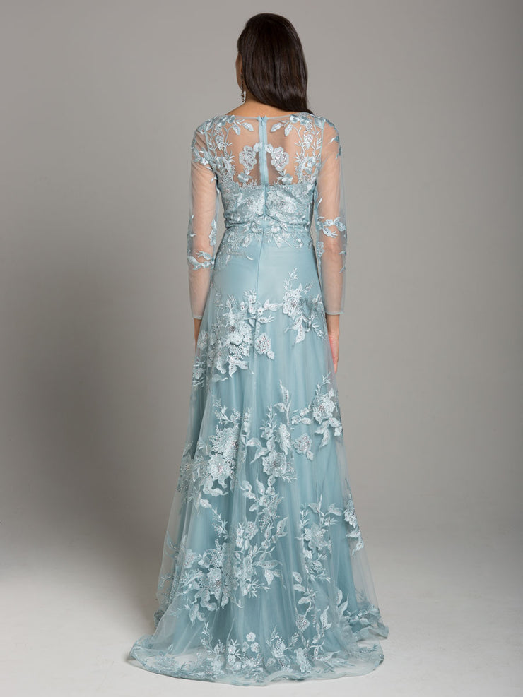 Lara 29863 - High Neck Beaded Lace Gown with Long Sleeves