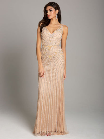 Lara 29865 - Fitted, V-Neck Column Gown