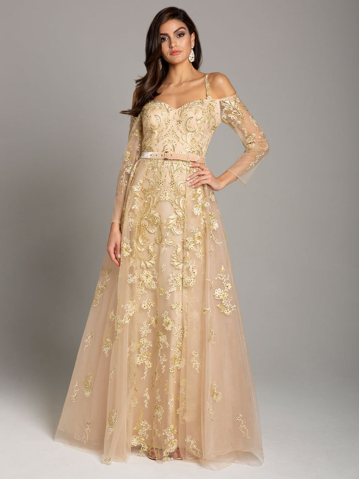Lara 29870 - Long Sleeve, Off Shoulder Lace Ball Gown