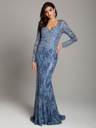 Lara 29885 - Lace V neck long sleeves mermaid gown