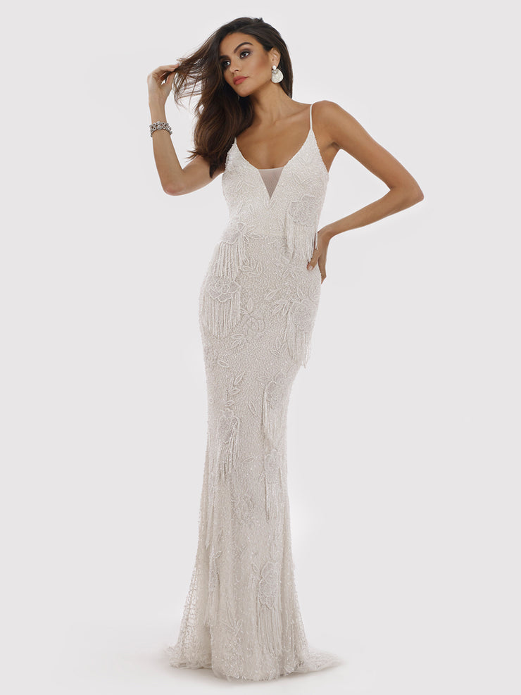 Lara 29892 - Fitted beaded fringes, plunging neck dress