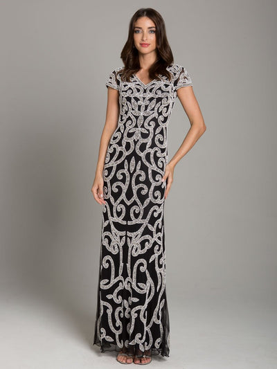 Lara 29901 - black and white beaded pattern long dress