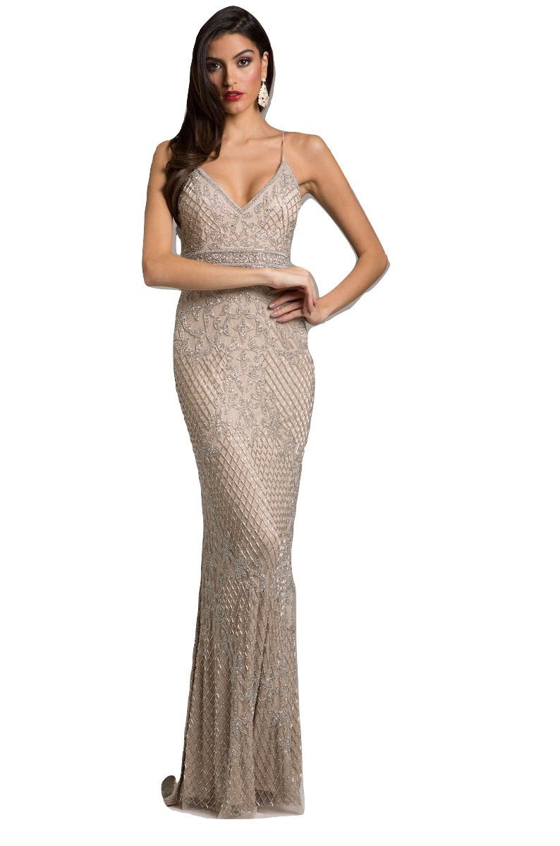 Lara 29904 - strap shoulder, plunging neck, fringes dress