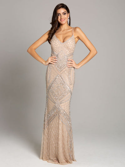 Lara 29911- Plunging neckline strap shoulder fitted column dress