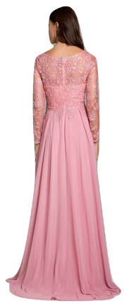 Lara 29920 - full sleeves lace appliques flowing gown