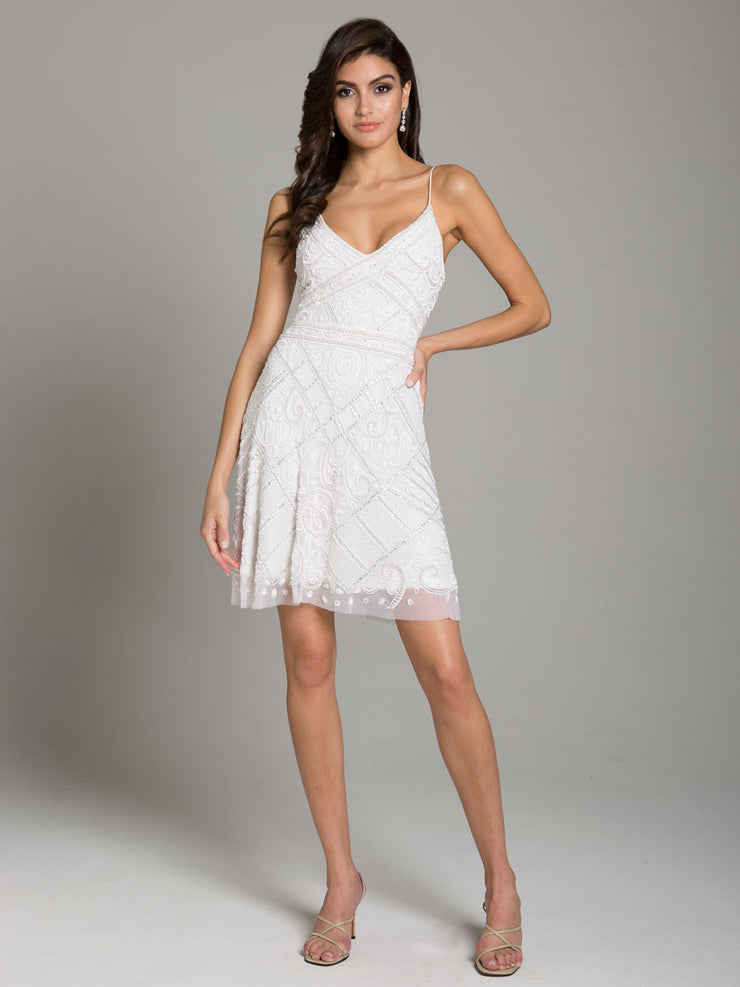 Lara 29989- strap v neck, fitted cocktail dress