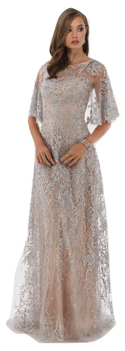 Lara 33277 - Cape sleeves lace column dress