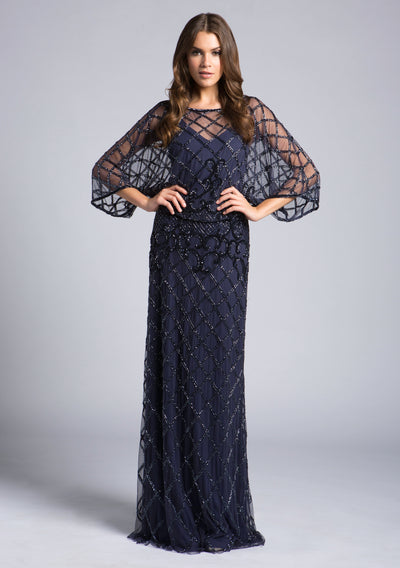 Lara 33434 - Cape style fitted long dress