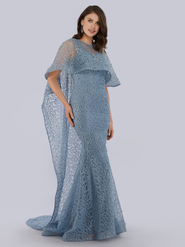 Lara 33536 - long cape style dress