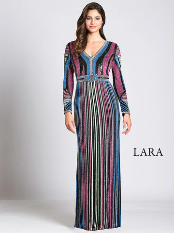 Lara 29871 - High Neck Flutter Sleeve Gown