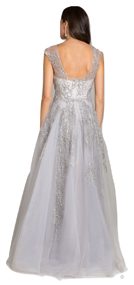 Lara 33621 - Vine appliques tulle ballgown with overskirt