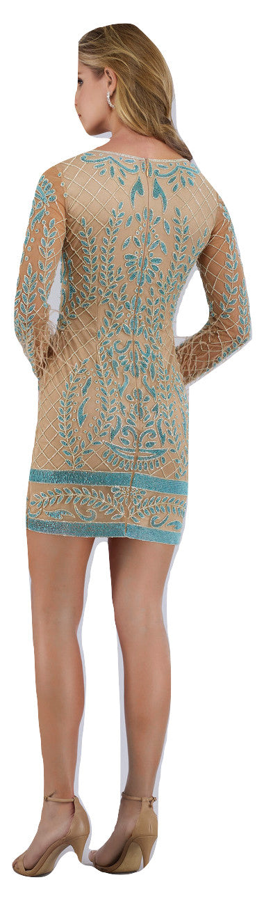 Lara 42630 - long sleeves beaded short dress