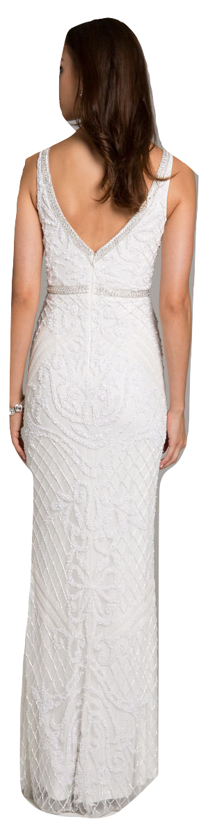 Lara 51006 - v neck beaded fitted column dress