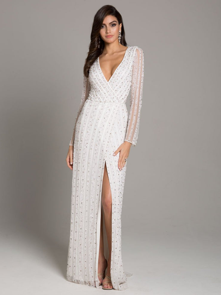 Lara 51007 - beaded fitted column dress with thigh high front slit