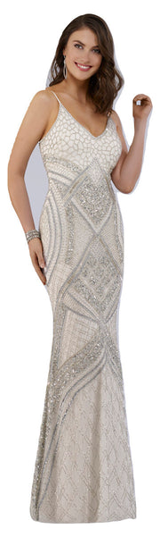 Lara 51015 - Beaded White long dress