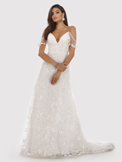 Lara 51023 - off shoulder flutter sleeves ball gown