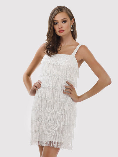 Lara 51025 - Short beaded fringes dress