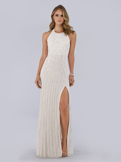 Lara 51039 - Beautiful Front high slit long gown