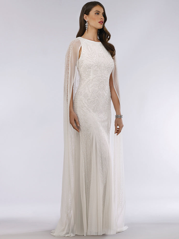 Lara 51045 - Beaded Long Cape style dress