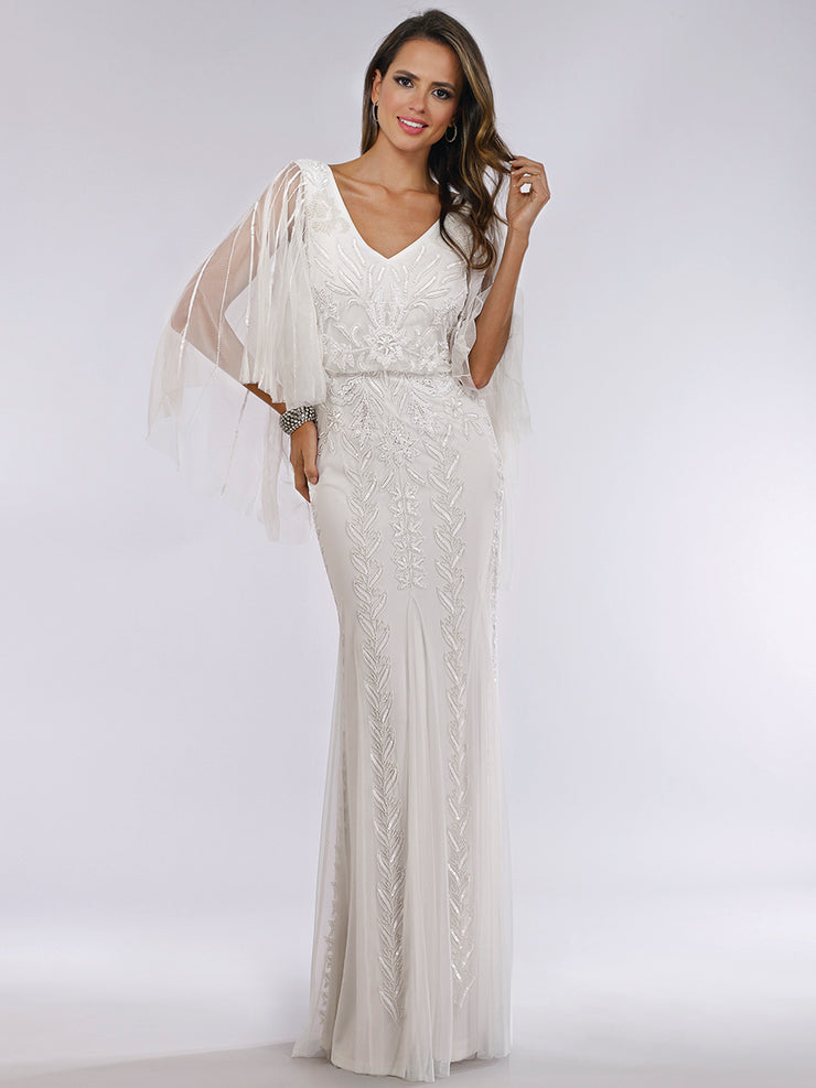 Lara 51046 - Cape sleeves long fitted dress