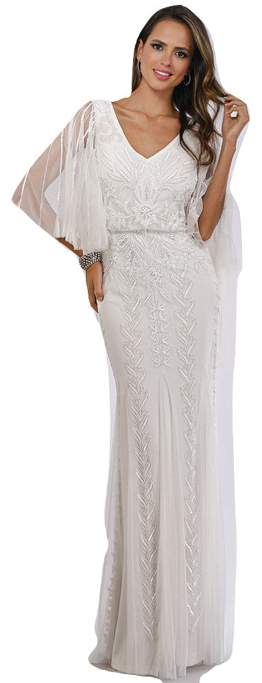 Long fitted dress with sleeves. 008790L - Catherines of