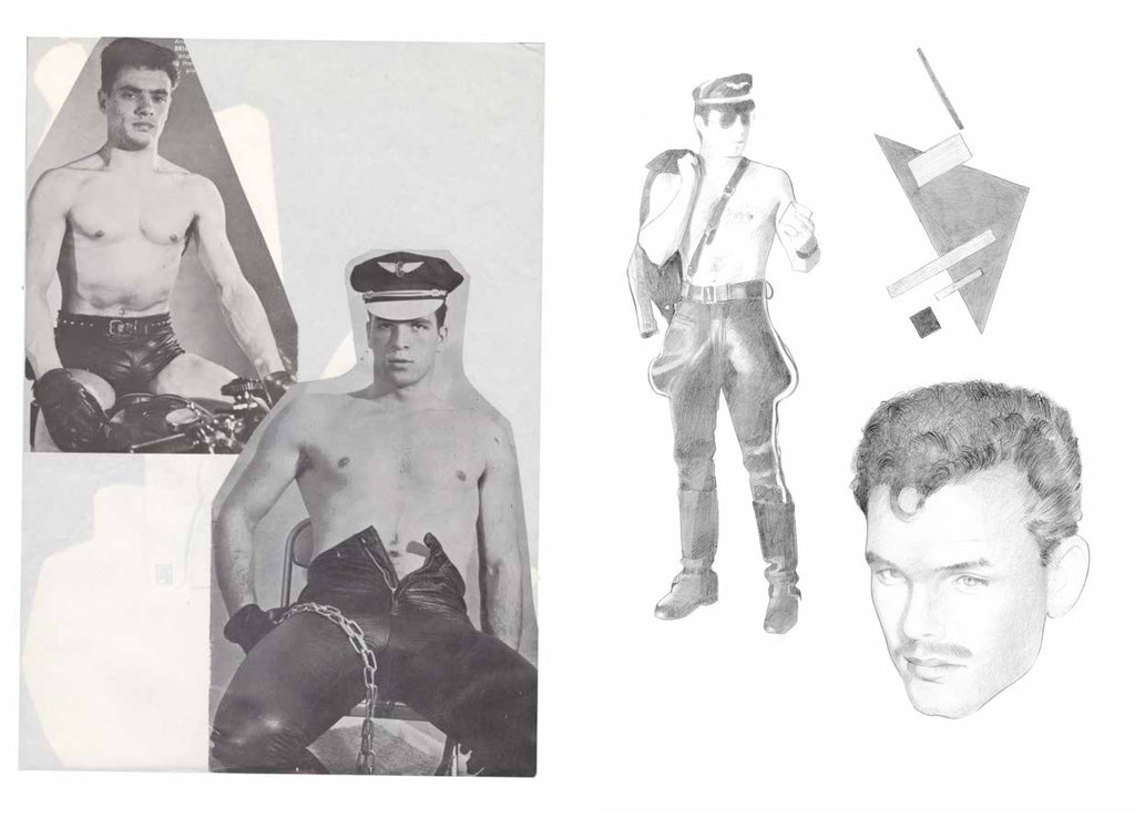 Left: Tom of Finland, Reference pages, mixed media collage on paper, 1966-1990. Right: Silvia Prada, graphite on paper, 2017