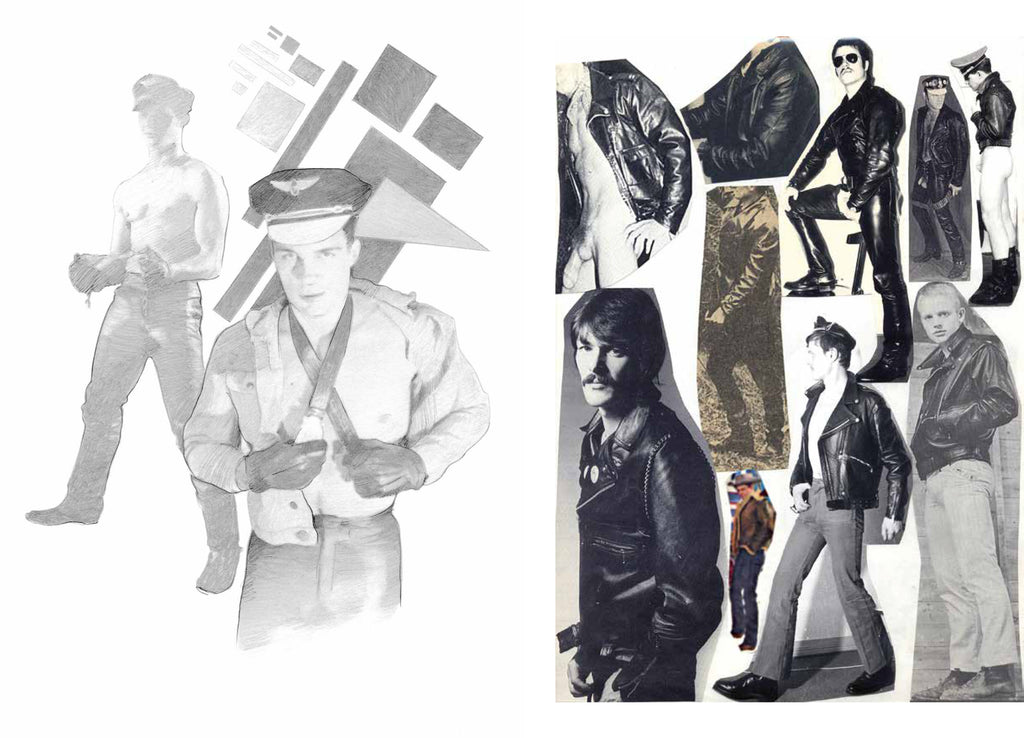 Left: Silvia Prada, graphite on paper, 2017. Right: Tom of Finland, Reference pages, mixed media collage on paper, 1966-1990.