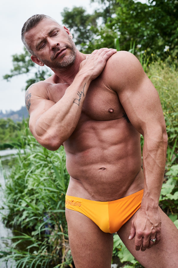 "Orange Bi color ""Boyfriend"" Swim Brief by LINDER"