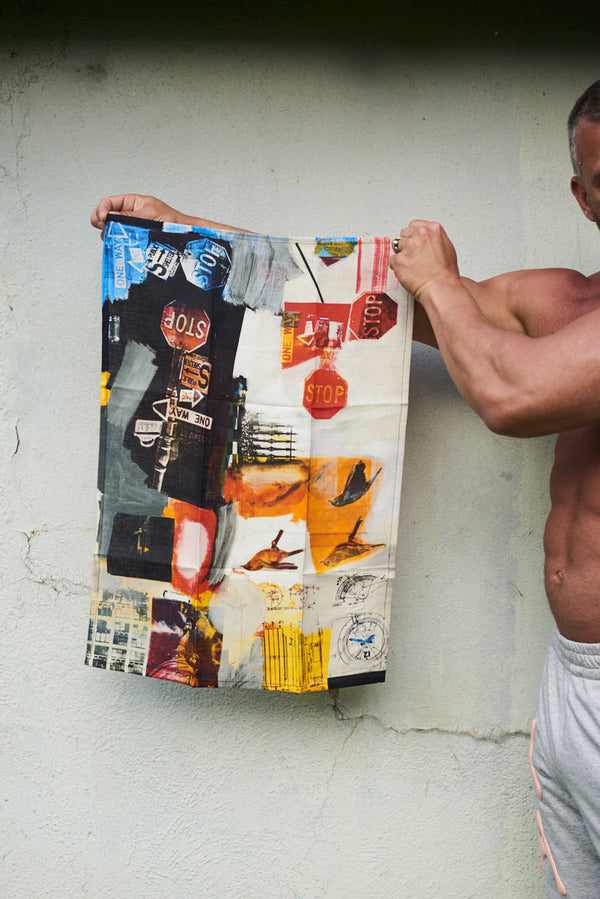 Overdrive Tea Towel - Third Drawer Down X Robert Rauschenberg