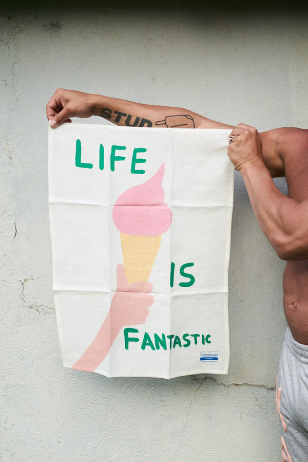 Life Is Fantastic Tea Towel - Third Drawer Down X David Shrigley
