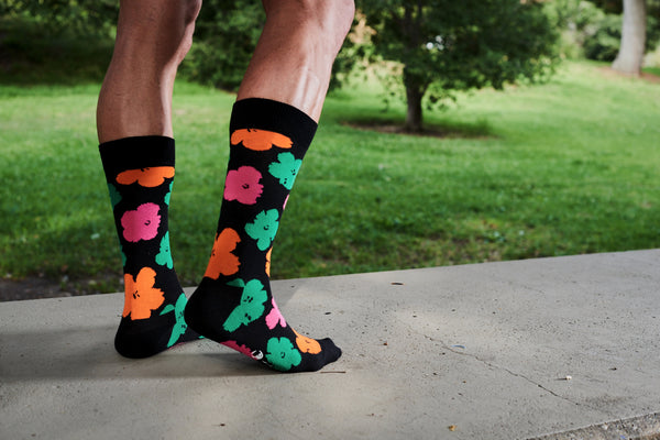 Andy Warhol x Happy Socks Black with Neon Flowers