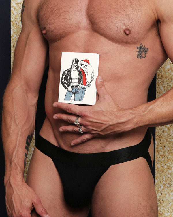 TOM OF FINLAND LEATHERMAN AND SANTA X-MAS CARD