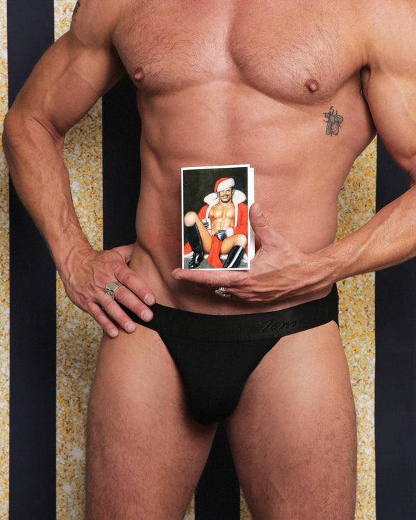 Santa's Stocking Tom of Finland Holiday Card