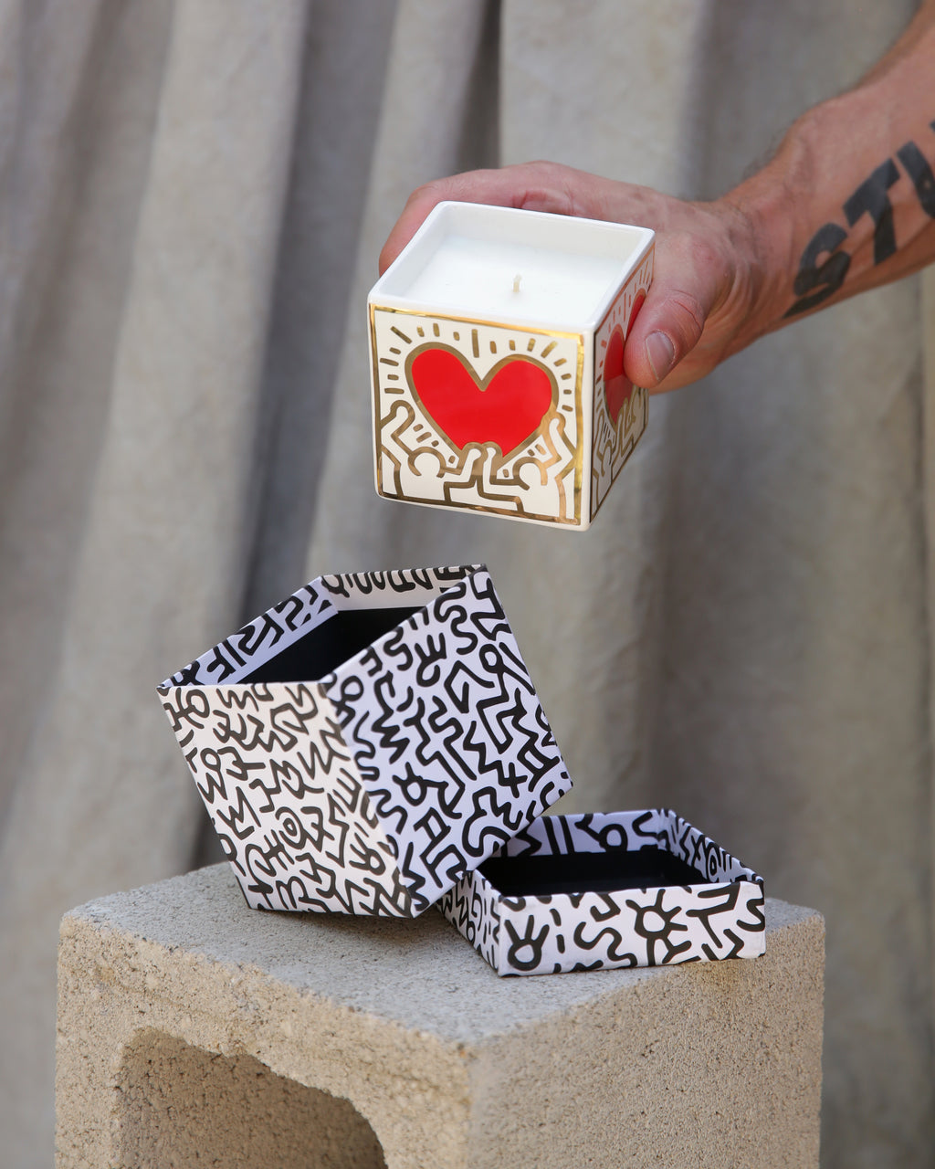 Keith Haring Red Pattern Heart Candle