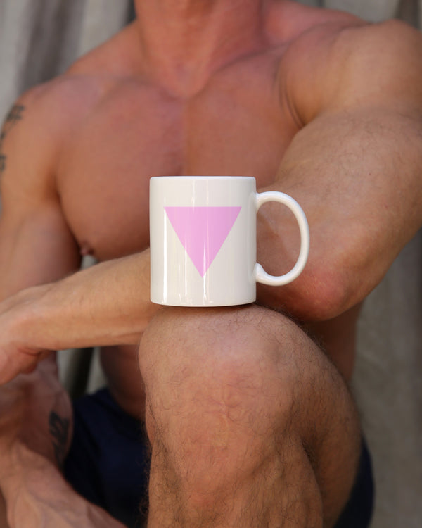 Pink triangle mug in white