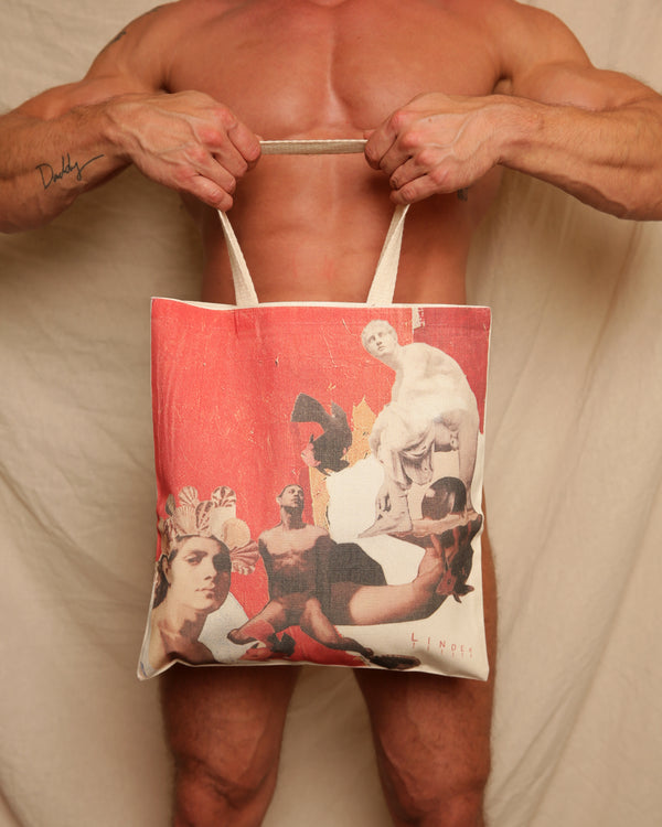 Red Collage Tote by LINDER