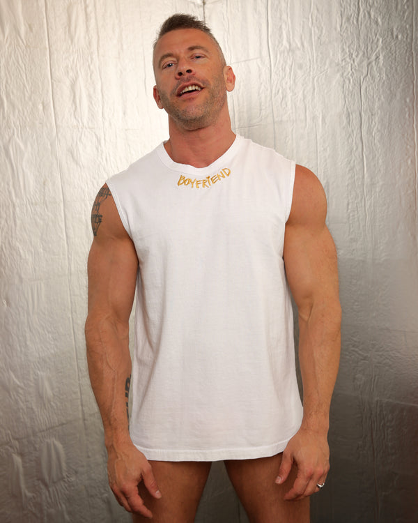 Boyfriend Tank by LINDER in White