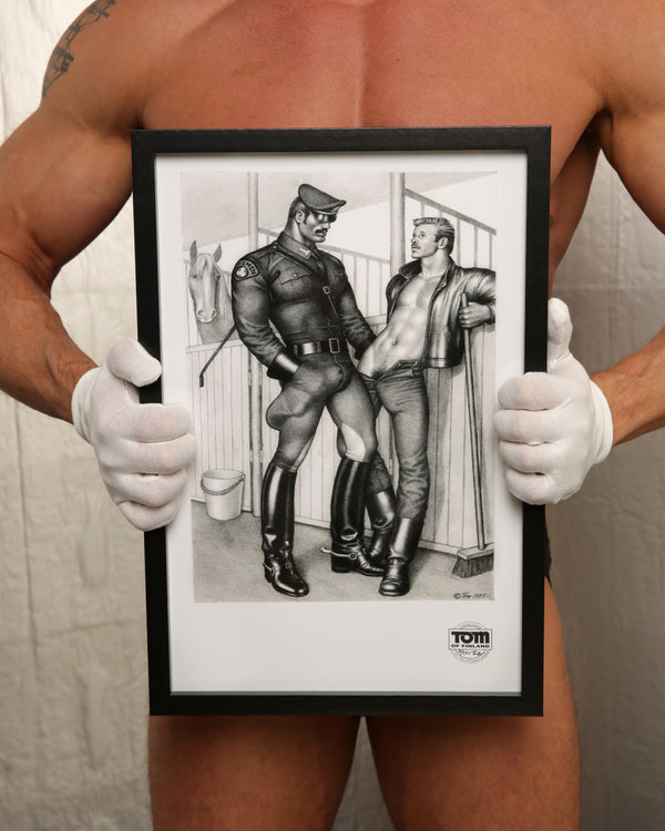 "Tom of Finland Uniformed 'Tom's Men' in Stable"", 1986"