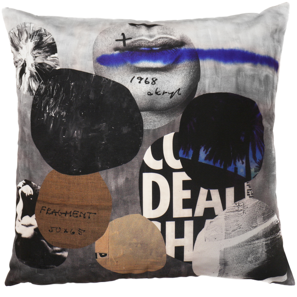 HENZEL STUDIO BLUE COLLAGE PILLOW COVER