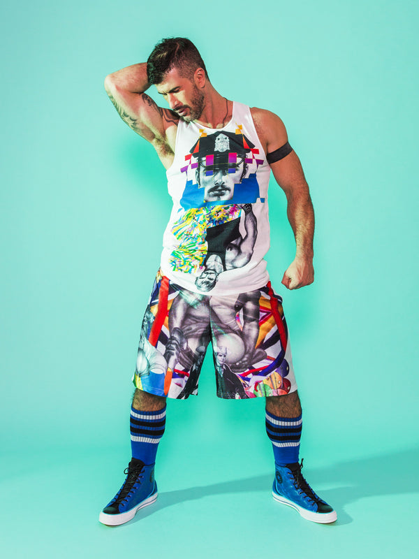 Print All Over Me avaf x Tom of Finland Tank Top and Shorts modeled by Adam Killian